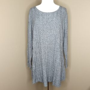 Style & Co. Marled Grey Ribbed Knit Tunic Sweater